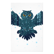 Snowy Winter Forest and Owl Stationery