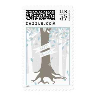 Snowy Winter Forest - Blue Postage