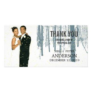 Snowy Winter Frosty Woods Wedding Photo Thank You Photo Card