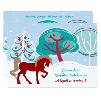 Snowy Winter Holiday Horse Girls Birthday Invite