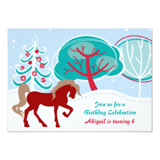 Snowy Winter Holiday Horse Girls Birthday Party 5x7 Paper Invitation Card