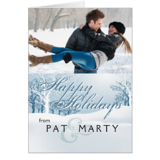 Snowy Winter Holiday Photo - ice blue Card
