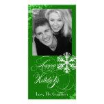 Snowy Winter Holly Green Holiday Photo Card