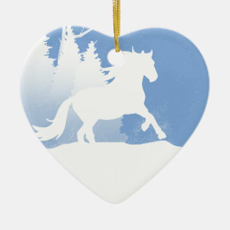 Snowy Winter Horse Silhouette Ornaments