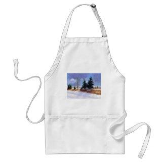 Snowy Winter Landscape Painting, Oil Pastel Adult Apron