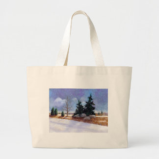 Snowy Winter Landscape Painting, Oil Pastel Large Tote Bag