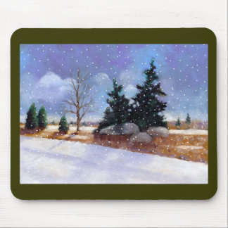 Snowy Winter Landscape Painting, Oil Pastel Mouse Pad