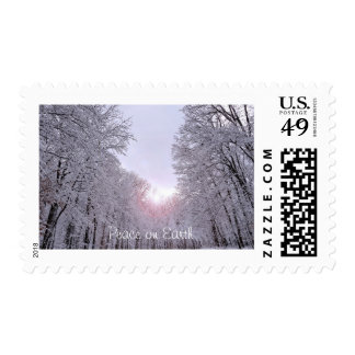 Snowy winter landscape postage stamps