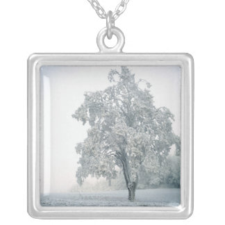 Snowy winter landscape silver plated necklace