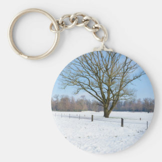 Snowy winter landscape with bare tree and blue sky keychain