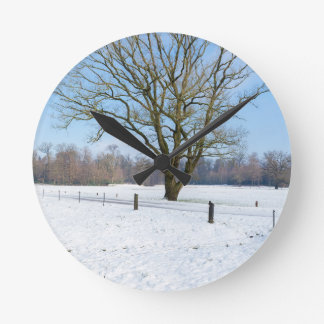 Snowy winter landscape with bare tree and blue sky round clock