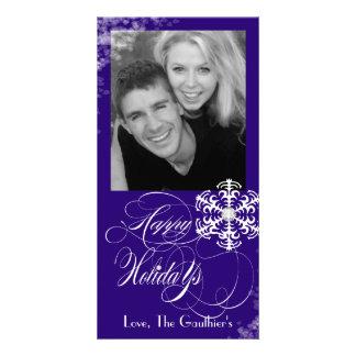Snowy Winter Navy Holiday Photo Card