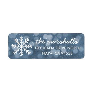 Snowy Winter Night Bokeh Holiday Label
