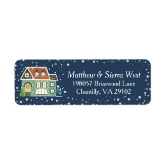 Snowy Winter Night Christmas Holiday Home Label