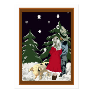 SNOWY WINTER NIGHT POST CARD