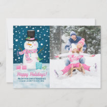 Snowy Winter Night Snowman Christmas Card
