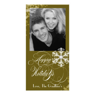 Snowy Winter Old Gold Holiday Photo Card