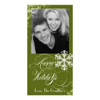 Snowy Winter Olive Holiday Photo Card