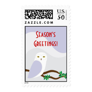 Snowy Winter Owl Holiday Christmas Stamp