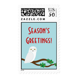 Snowy Winter Owl Holiday Christmas Stamp 2