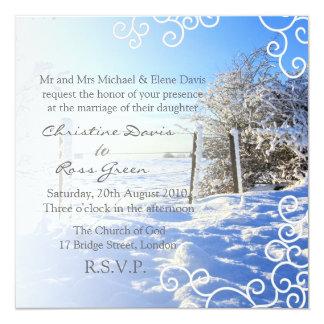 Snowy winter personalized wedding invitation