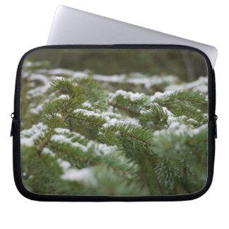 Snowy Winter Pine Tree Laptop Sleeves