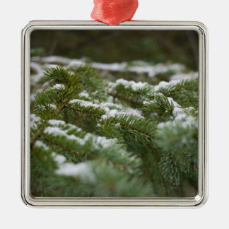 Snowy Winter Pine Tree Metal Ornament