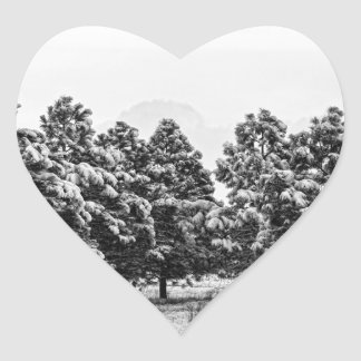 Snowy Winter Pine Trees In Black and White Heart Sticker
