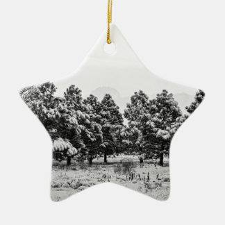 Snowy Winter Pine Trees In Black and White Christmas Ornament