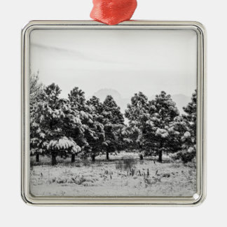 Snowy Winter Pine Trees In Black and White Christmas Tree Ornaments