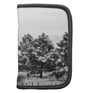 Snowy Winter Pine Trees In Black and White Planner