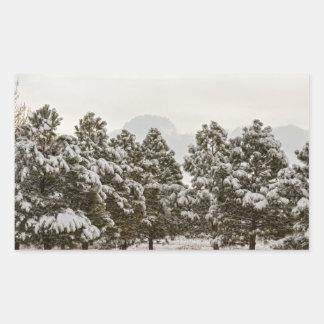 Snowy Winter Pine Trees Rectangular Sticker