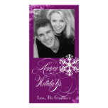 Snowy Winter Plum Holiday Photo Card