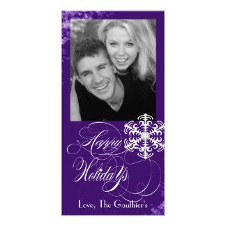 Snowy Winter Purple Holiday Photo Card