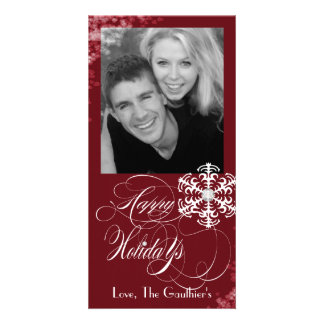 Snowy Winter Red Holiday Photo Card