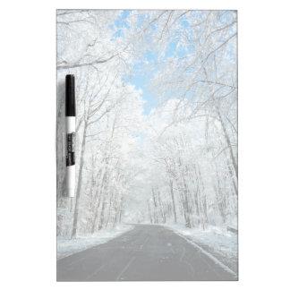 Snowy Winter Road Scene Dry Erase Board