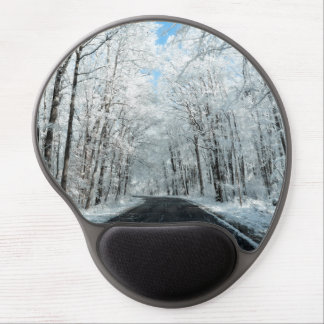 Snowy Winter Road Scene Gel Mouse Pad