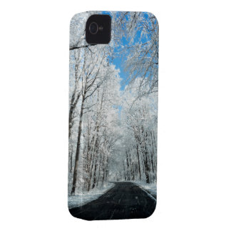 Snowy Winter Road Scene iPhone 4 Case-Mate Case
