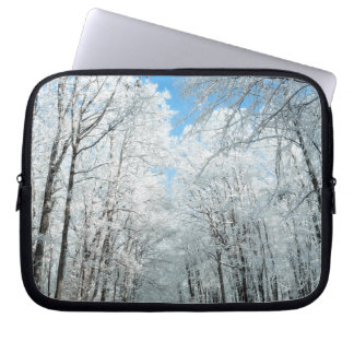 Snowy Winter Road Scene Laptop Sleeve