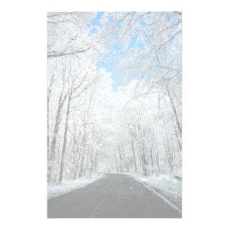 Snowy Winter Road Scene Stationery