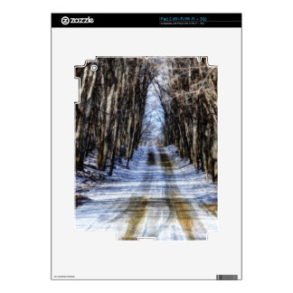 Snowy Winter Road Decals For iPad 2