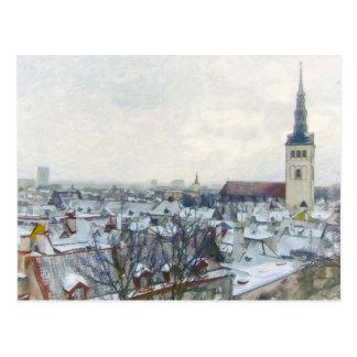 Snowy Winter Rooftops in Tallinn, Estonia Postcard