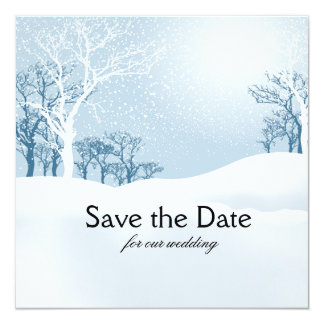 Snowy Winter Save the Date ice blue Personalized Invites
