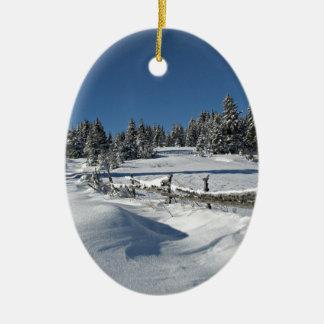 Snowy Winter Scene Ceramic Ornament