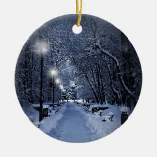 Snowy Winter Scene Christmas Ornament