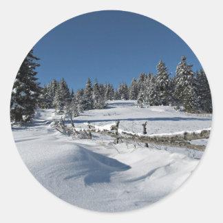 Snowy Winter Scene Classic Round Sticker