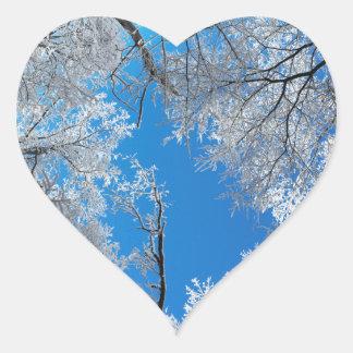 Snowy Winter Scene Heart Sticker
