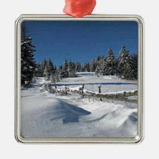 Snowy Winter Scene Metal Ornament