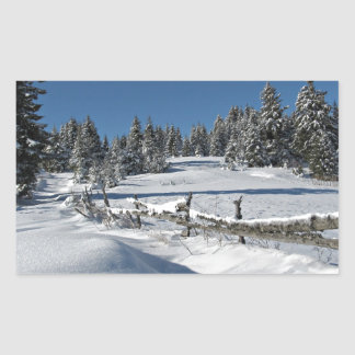 Snowy Winter Scene Rectangular Sticker