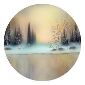 Snowy Winter Scene Round Generic Holiday Cards
